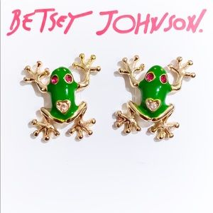 Betsey Johnson Womens Frog Stud Earrings